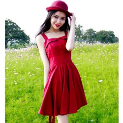 Classic Sexy Backless Sleeveless Red Literary Temperament Dress