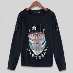 New Casual Baseball Cap Owl Pattern Female Hollow Sleeve Loose Top