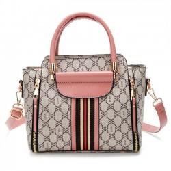 Elegant Grid Stripe Girl's PU Leather Multi-function Tote Shoulder Bag Handbag