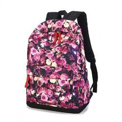 Romantic Floral Flower Rose Printed School Backpack Travel Bags