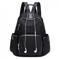 Simple Girl's Waterproof Oxford Splicing PU School Backpack Headphones Hole Travel Backpack