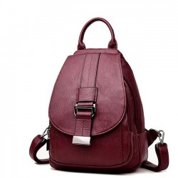 Fresh Small Single Buckle Pu Mini Multifunction Shoulder Bag Girl's Backpack