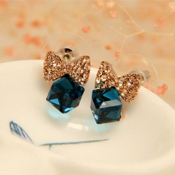 Bling Diamond Bow Crystal Cube Silver Needle Sweet Earrings Studs