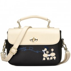 Cute Puppy Cartoon Contrast Color Girl PU Shoulder Bag