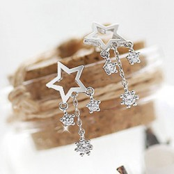 Fashion Wish Stars Rhinestone Drop Lady Silver Earrings Studs