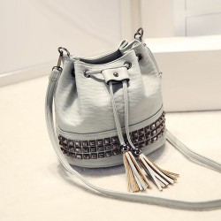 Special Punk Rivet Tassels Drawstring Bucket Bag Shoulder Bag Messenger Bag