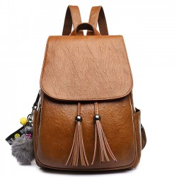 Retro Tassel Simple Brown PU School Bag Simple British Style Backpack
