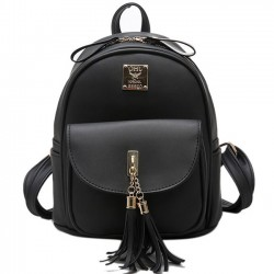 Simple Tassels Elegant College Bag Front Flap Pocket School Backpack