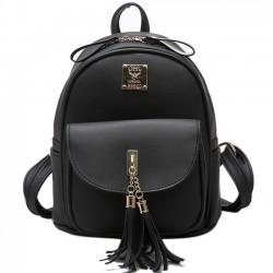 Simple Tassels Elegant College Bag Front Flap Pocket School Backpack