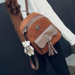 Leisure Brown Tassel Suede Retro Flounce School Lady Student Backpack