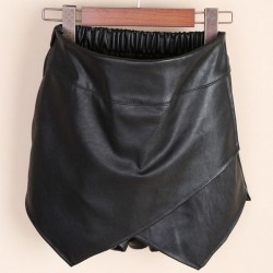 Slim Leather Elastic Black Short Skirts