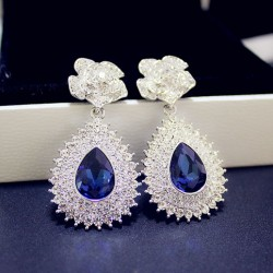 Noble Shining Inlay Diamond Rose Sapphire Pendant Banquet Earrings