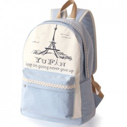 Fresh Lace Polka Dots School Rucksack Eiffel Tower College Canvas Backpack