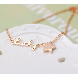 Letter Lucky Star Gold Plated Necklace