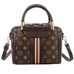 Unique Girl's PU Leather Handbag Multi-function Contrast Color Tote Shoulder Bag