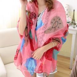 Women Heart Flower Shawl Scarf Dual Beach Towel Sunscreen Scarf