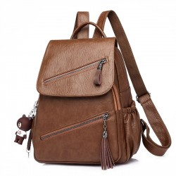 Retro British Style Tassel School Lady Leisure Double Oblique Zipper PU Backpack