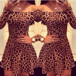 Sexy Leopard Print Long Sleeve Dress