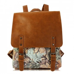 Retro Leaves Print Leather College Rucksack British Style Backpack