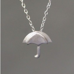 Hand Design Cute Umbrella Silver Pendant Necklace