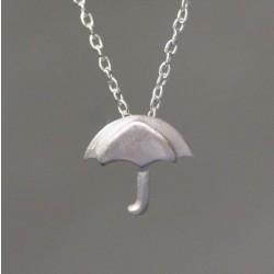 Hand Design Cute Umbrella Silver Pendant Necklace