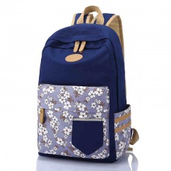 Fresh Floral Flowers Pattern Lace Pocket Travel Bag Computer Backpack School Rucksack