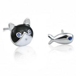 Cute Different Animal Earrings Cat Fish Oil-spot Glaze Silver Girl's Earring Studs