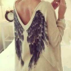 Fashion Angel Wings V Neck Long Sleeve Blouse T-Shirt
