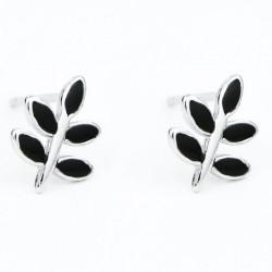 Cute Spring Simple Black Leaf Earring Sweet Leaves Retro Mini Silver Girl's Earring Studs
