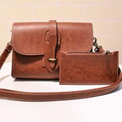 Simple Brown PU Messenger Bag Retro Flap Metal Lock Catch Purse Shoulder Bag