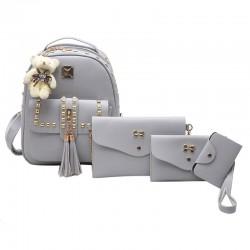 Fashion PU Girl's Metal Rivets Tassel School Backpack Gift Bear Doll Student Backpack