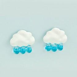 Original 925 Silver Needle Cute Droplets Clouds Glass Earrings