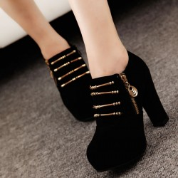 Classic Chain Zipper High Heel Shoes