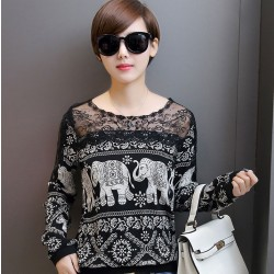 Loose Stitching Lace Strapless Elephant Printing Lace Top