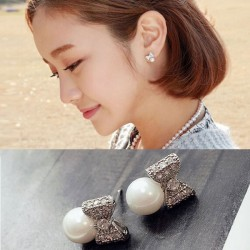 Cute Bow Silver Pearl Ball Earring For Women Butterfly Earring Studs