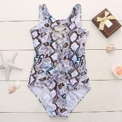 Snakeskin Printed Swimwear Cross Strap Bikini Set One-piece Bathingsuit