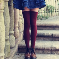 Fresh Pure Color Student Cotton Knee Stockings