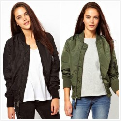 Women's Bomber Jacket Basic Jacket Biker Outwear Winter Coat