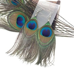 Unique Original Folk Natural Peacock Feathers Earrings