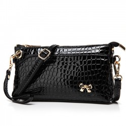 Glossy Flower Grid Bow Crocodile Pattern Clutches