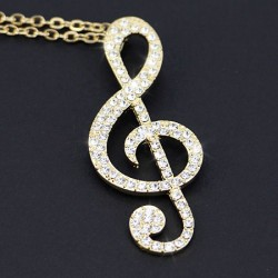 Shining Music Notes Diamond Pendant Stylish Sweater Necklace