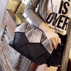 Geometry Splice Snake Print Modern Shoulder Bag