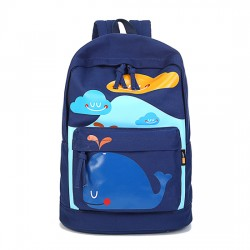 Lovely Cute Smile Dolphin Clouds Pattern School Bag Travel Backpack Computer Rucksack