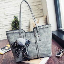 Retro Girl's PU Whole Color Sewing Thread Shoulder Bag Weave Handbag