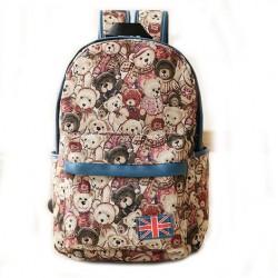 Cute Bear Canvas Backpack The Union Flag College Bag