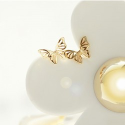 Cute Butterfly Earrings Animal Hollow Out Silver Earring Studs