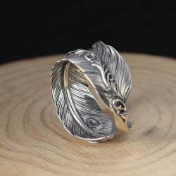 Retro Handmade Silver Feather Open Lenient Ring
