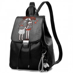 Leisure Cartoon Romantic Lovers Embroidery Large College Bag Girl's Draw String Flap PU Black School Backpack
