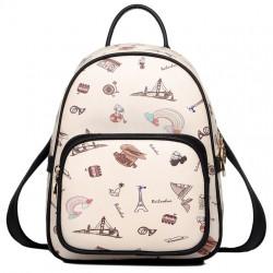 Cartoon British Style Women Rucksack Mini World Travel College Backpack