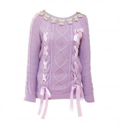 College Sweet Lolita Cherry Geometry Weave Ribbon O-neck Sweater